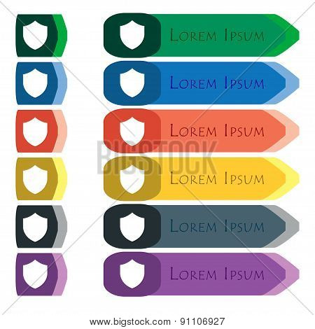 Shield, Protection  Icon Sign. Set Of Colorful, Bright Long Buttons With Additional Small Modules. F