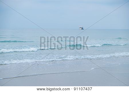 Seascape And Blue Sky With A Boat