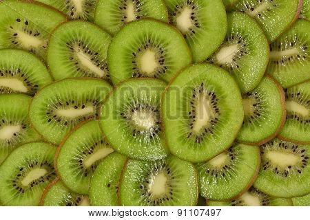Sliced Kiwi Fruit Background