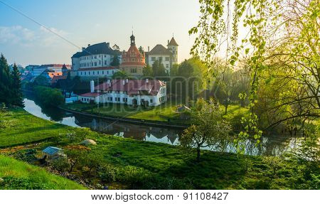 Jindrichuv Hradec castle, South Bohemia, Czech Republic in morning light