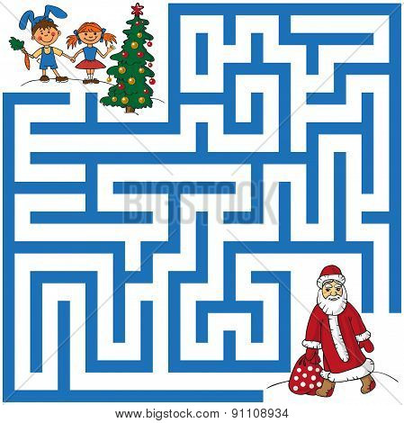 Maze Of Santa Claus And Christmas Tree