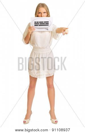 Young girl with chat card isolated