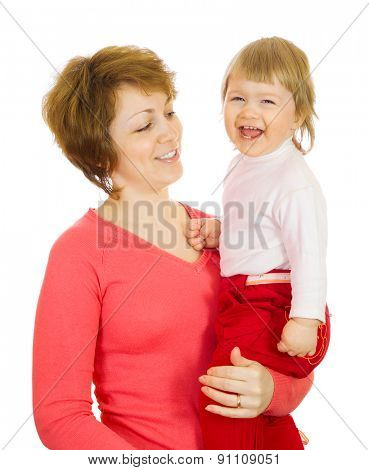 Small laughing baby in red with mother isolated
