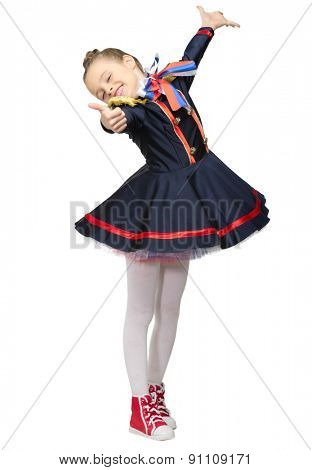 Little girl in costume isolated