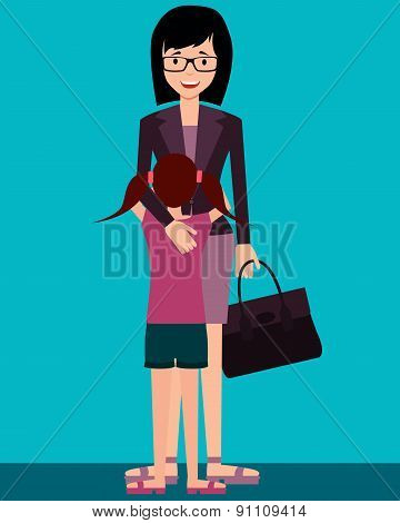 Family. Daughter hugging mother who came home after work. Vector illustration