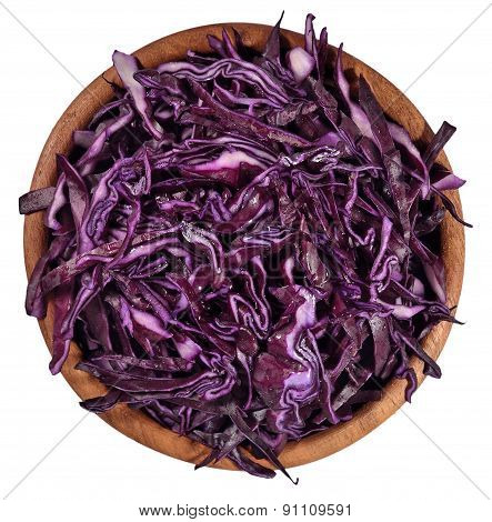 Sliced Red Cabbage In A Wooden Bowl On A White