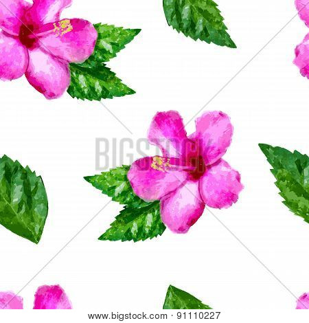 Watercolor Vector Seamless Pattern With Pink Tropical Hibiscus Flower And Green Leaves. Floral Summe