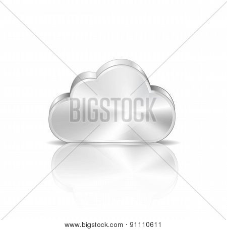 Metallic cloud computing icon
