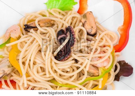 Seafood with pasta as haute cuisine.