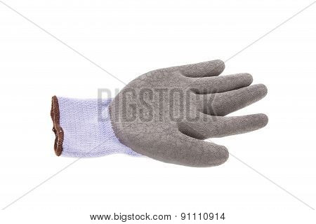 Close up of gray rubber glove.