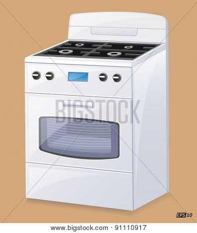Cooking Range with Oven - Illustration