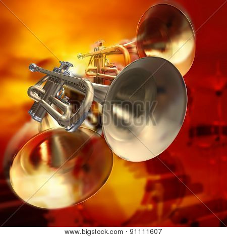 Abstract Musical Background Piano Drums And Trumpet