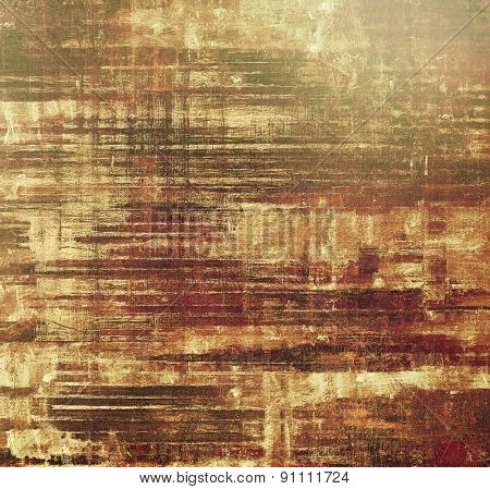 Dirty and weathered old textured background. With different color patterns: yellow (beige); brown; gray; green