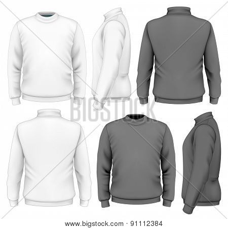 Men's sweater design template (front view, back view, side views). Vector illustration.