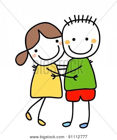 girl and boy holding their hands