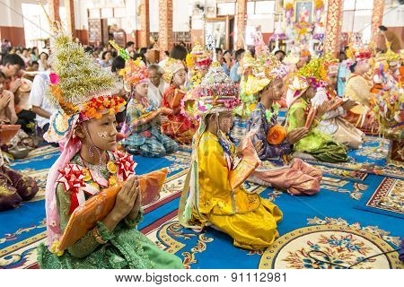 Mae Hong Son, Thailand - April 5, 2015: Unidentified Novice In Poy Sang Long Festival Ordination Tra