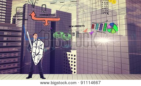 Corporate warrior against drawn graphic on cityscape background