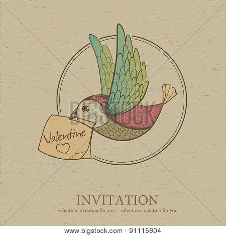 Bird With Valentine Card. Invitation