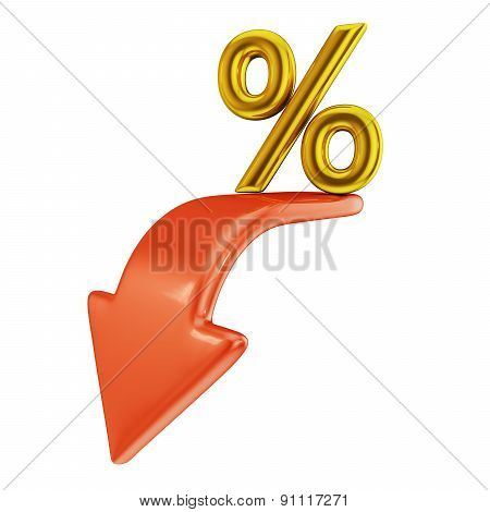 Red Arrow And Percent
