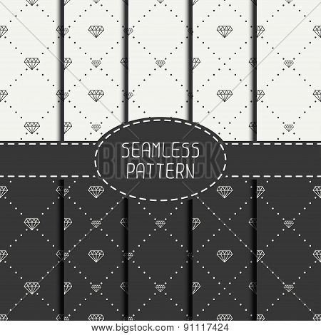 Set of monochrome hipster fashion geometric seamless pattern with diamond. Collection of wrapping pa