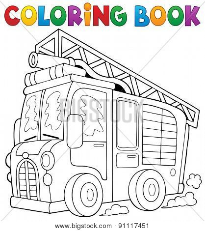 Coloring book fire truck theme 1 - eps10 vector illustration.