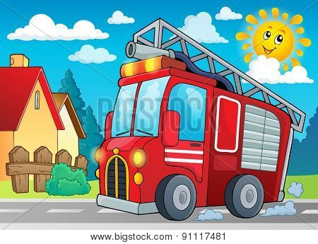 Fire truck theme image 2 - eps10 vector illustration.