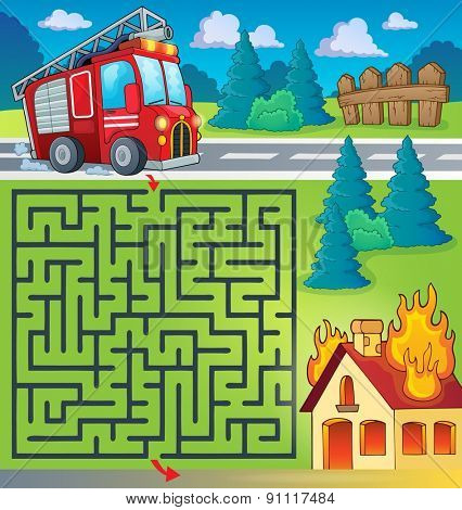 Maze 3 with fire truck theme - eps10 vector illustration.