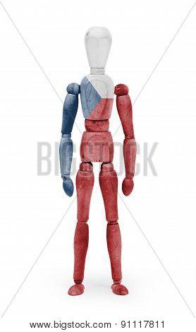 Wood Figure Mannequin With Flag Bodypaint - Czech Republic