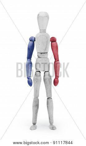 Wood Figure Mannequin With Flag Bodypaint - France
