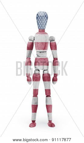 Wood Figure Mannequin With Flag Bodypaint - Usa