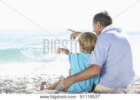 Grandfather And Grandson Sitting On Beach Together On Holiday