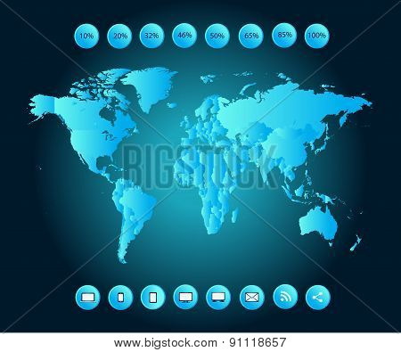 Infographic World Map Blue neon