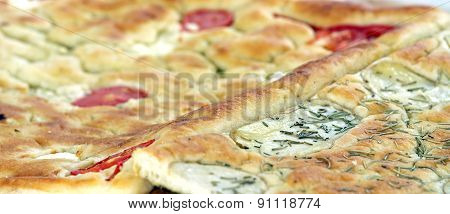 Baked Bread  Italian Food Called Focaccia With Rosemary