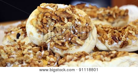 Tasty Sandwich With Cheese And Walnuts