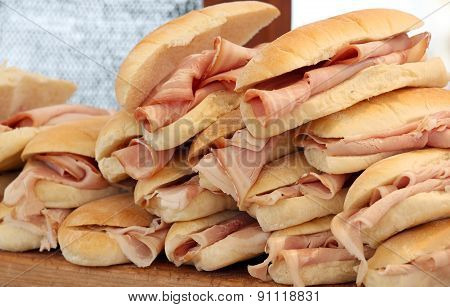 Ham Sandwiches On Sale At The Bar