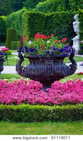 black iron flower pot