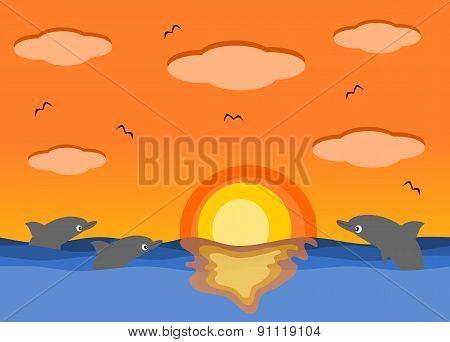 Sunset sea and the beautiful dolphins cartoon illustration