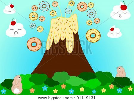 Volcano erupting donuts funny cartoon illustration