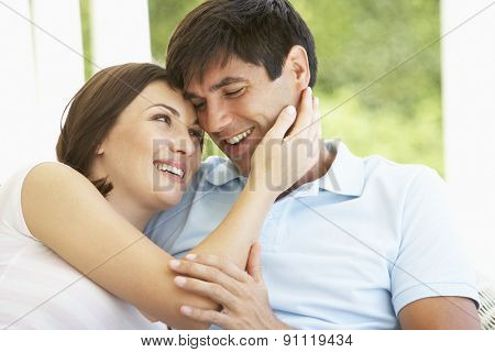 Romantic Young Couple Relaxing Outside