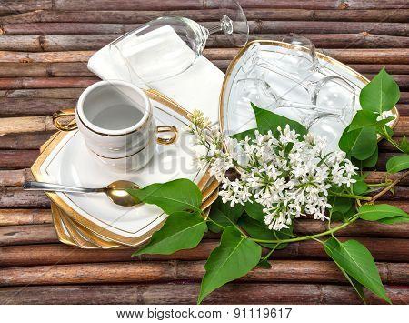 Utensils. Lilac Branch