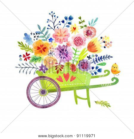 Gardening. Wheelbarrow with flowers Cute watercolor card