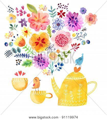 Cute tea time card watercolor painting