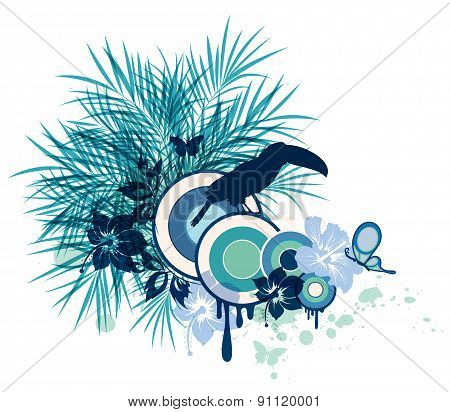 Tropical Flowers, Palm And Bird