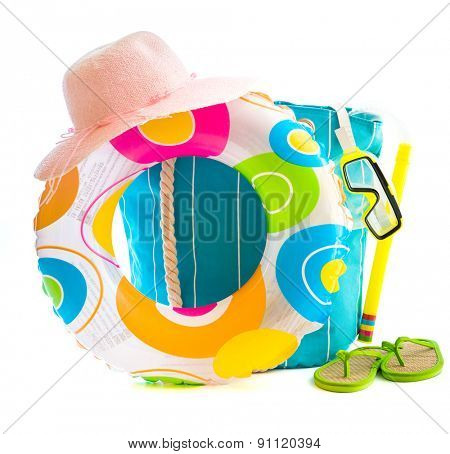 bag with beach accessories isolated on a white background