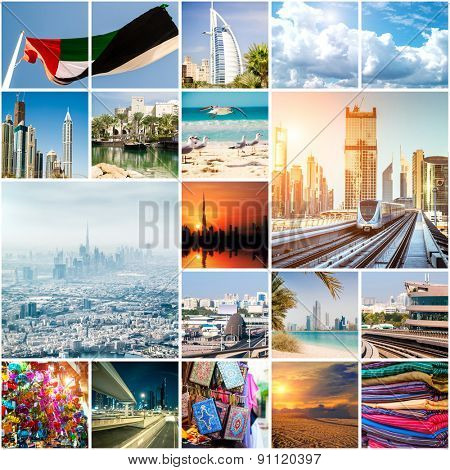 Collage of photos from Dubai. UAE