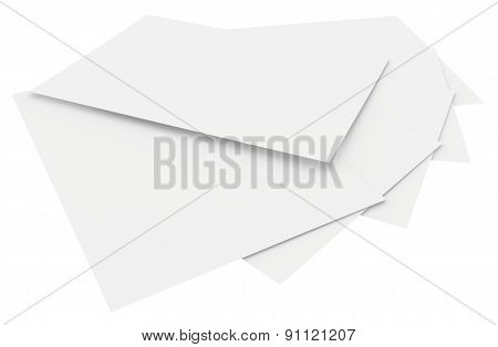 blank sheets of paper isolated on white background