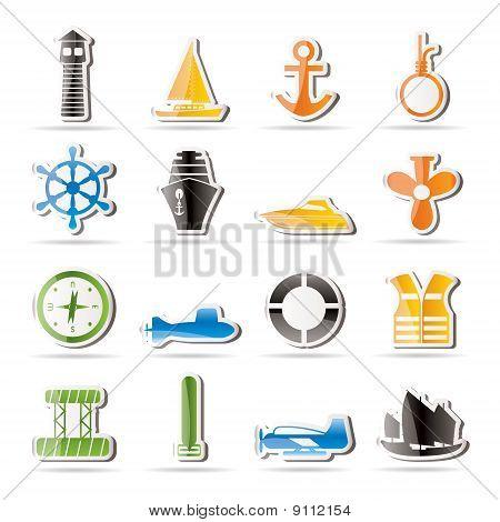 einfache Marine, Segeln und Meer icons