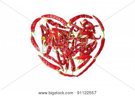 chili peppers red heart symbol, isolated on white