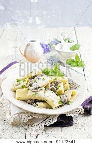 Italian pasta with minced meat - Mezzi Occhi di Lupo