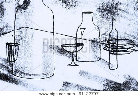The original drawing. Abstract graphics  with the table, bottles, glasses, plates.